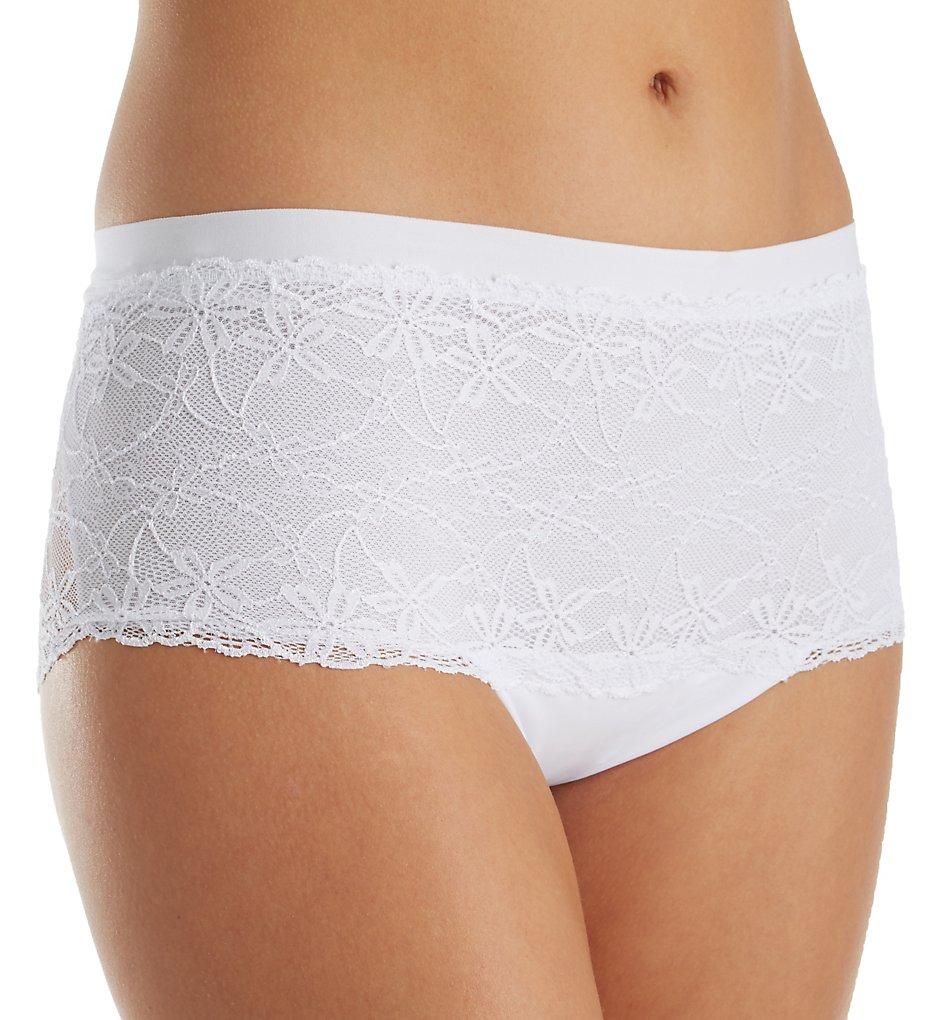 Leonisa - Leonisa 012845 Fabulous Lace Hip Hugger Control Panty (White S)