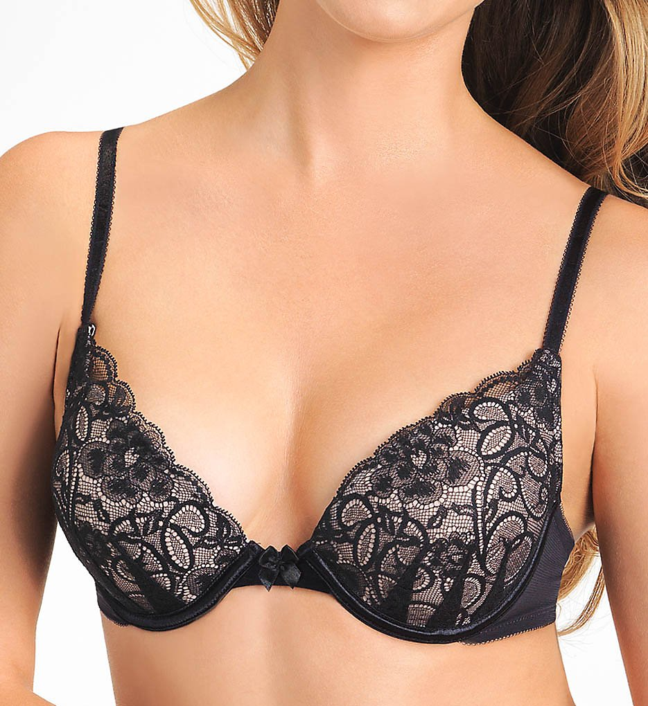 Lily Of France : Lily Of France 2131701 Ego Boost Lace Push Up Bra (Black/Barely Beige 32A)