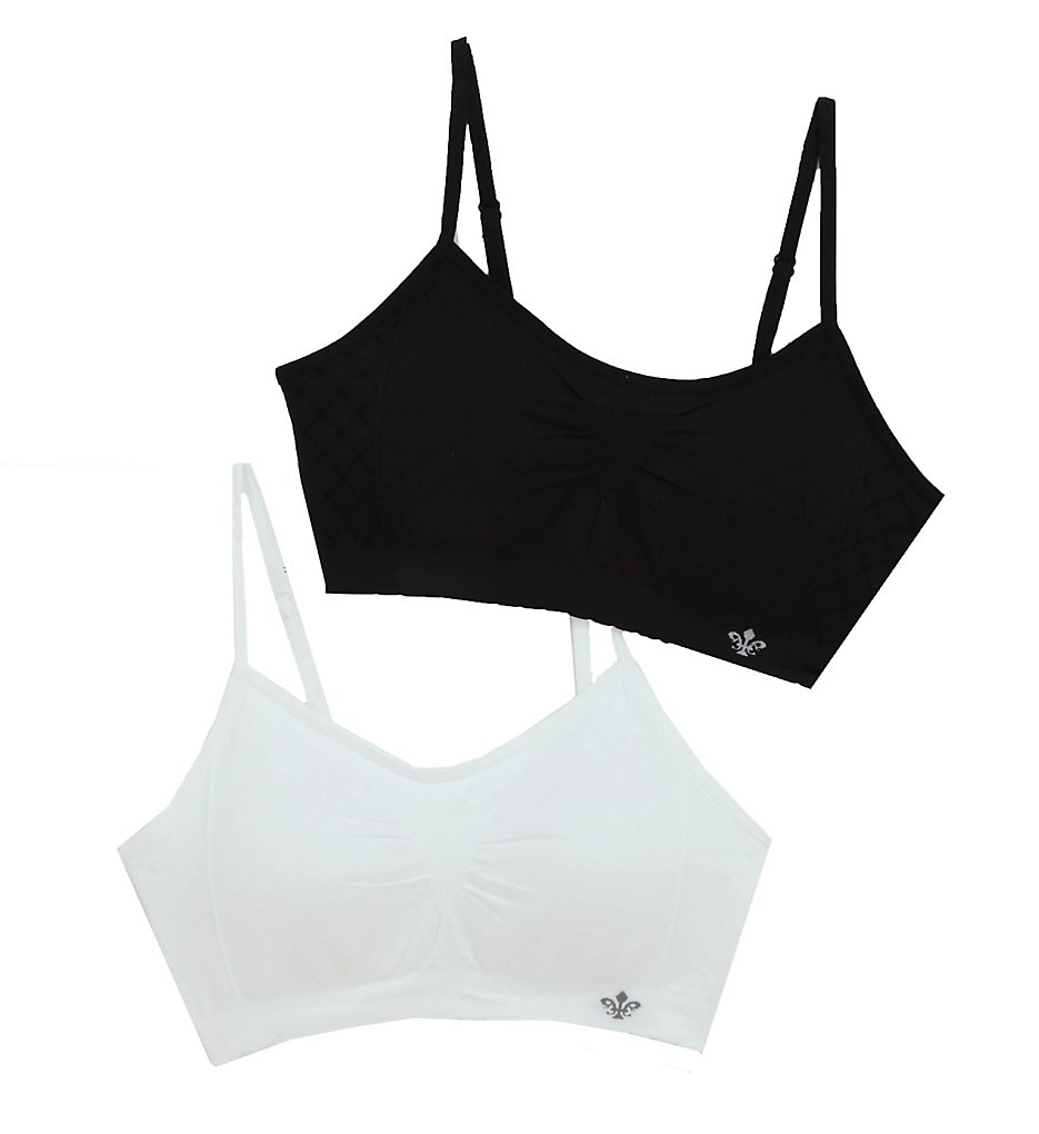 Lily Of France : Lily Of France 2171941 Seamless Comfort Bralette - 2 Pack (White/Black S/M)