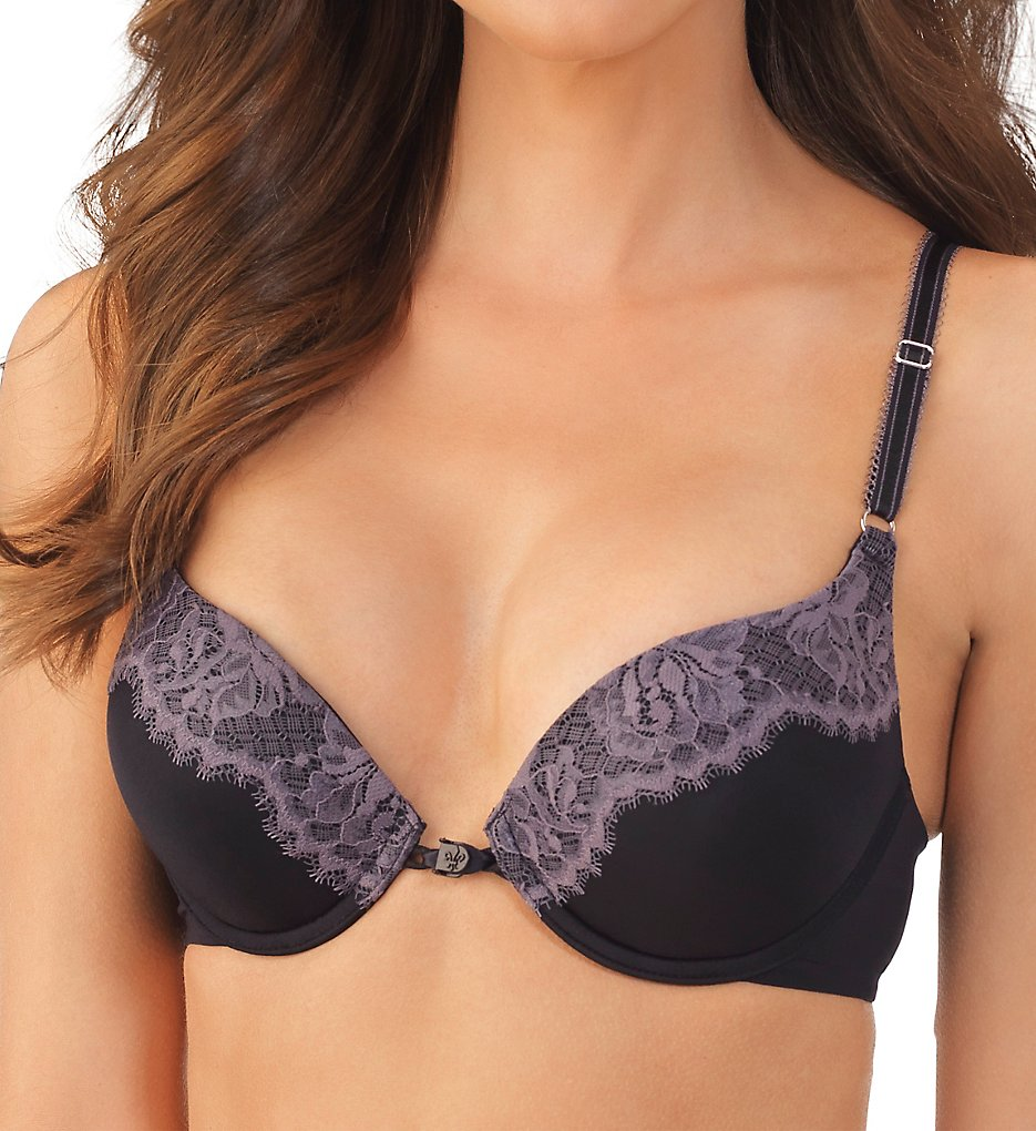 Lily Of France - Lily Of France 2175290 Ego Boost Amplifier Push-Up Convertible Bra (Black Steele Lace 34A)