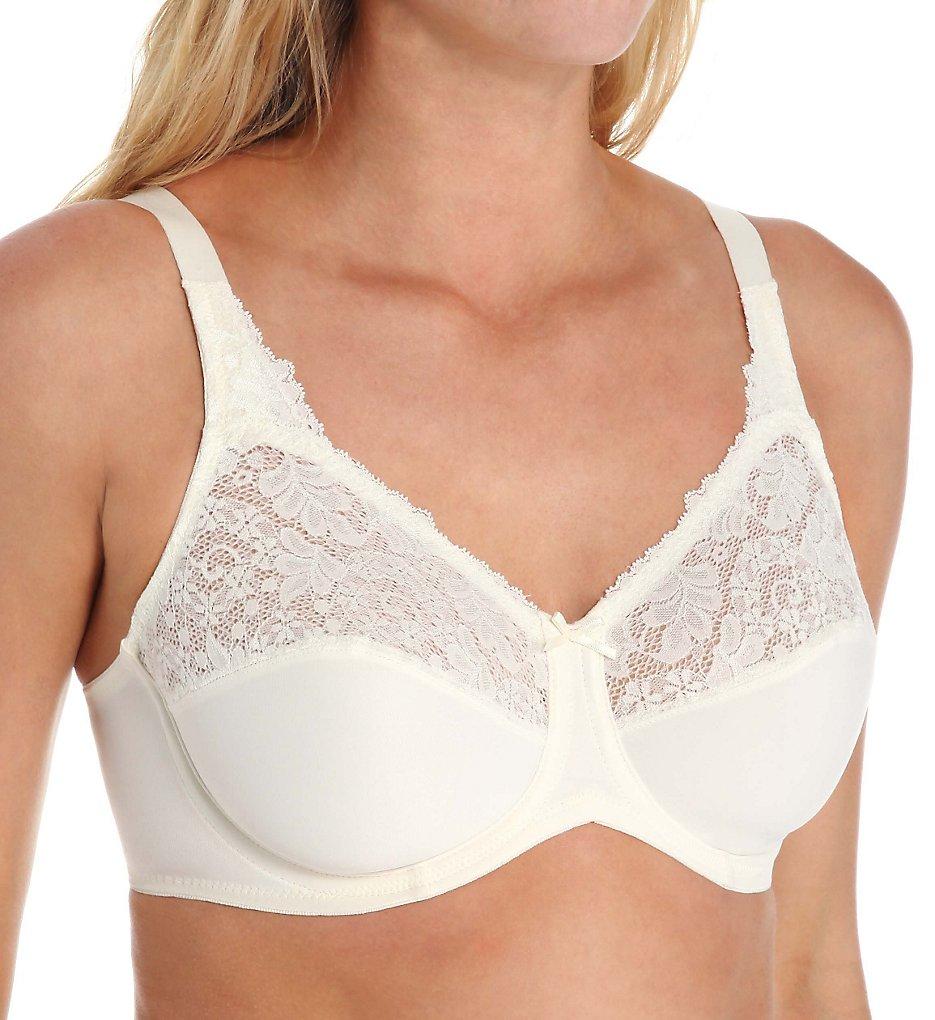 Lilyette 0428 Comfort Lace Minimizer Bra (Pearl)