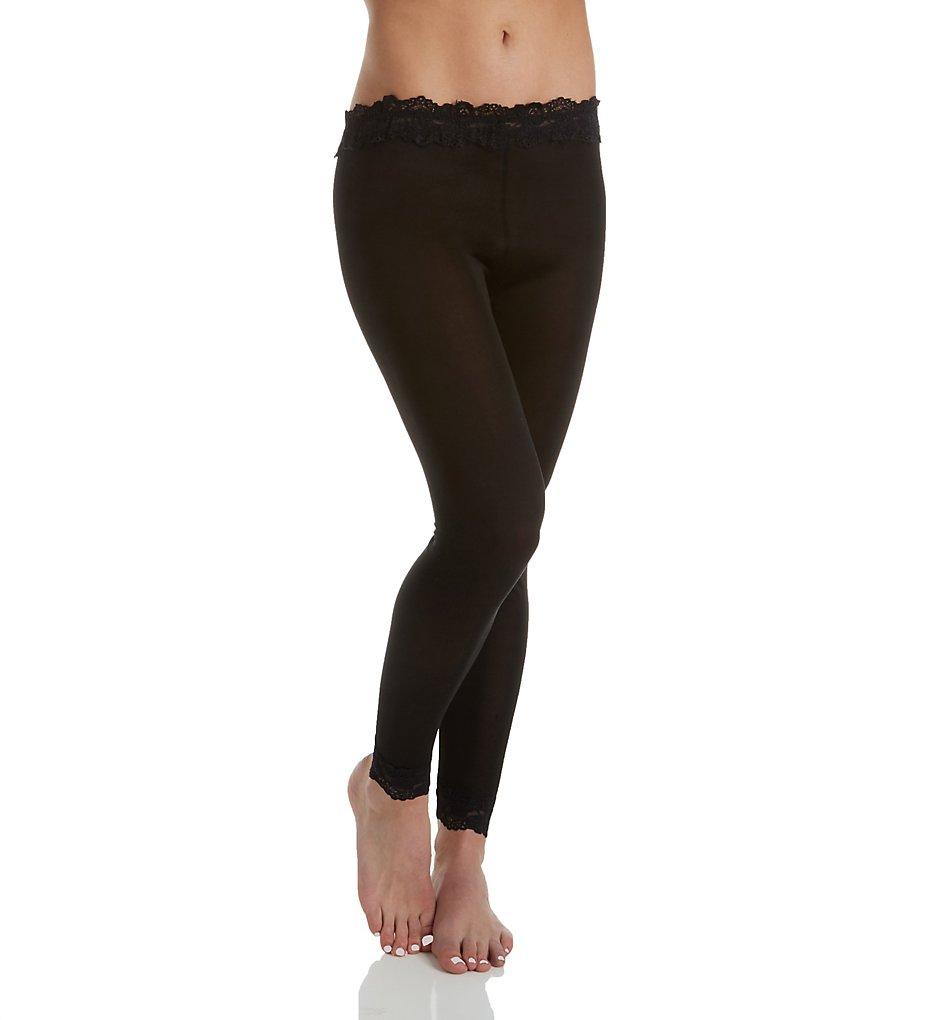 Linda Hartman 774025 Silk Knit Legging with Lace Waistband and Cuff (Black)