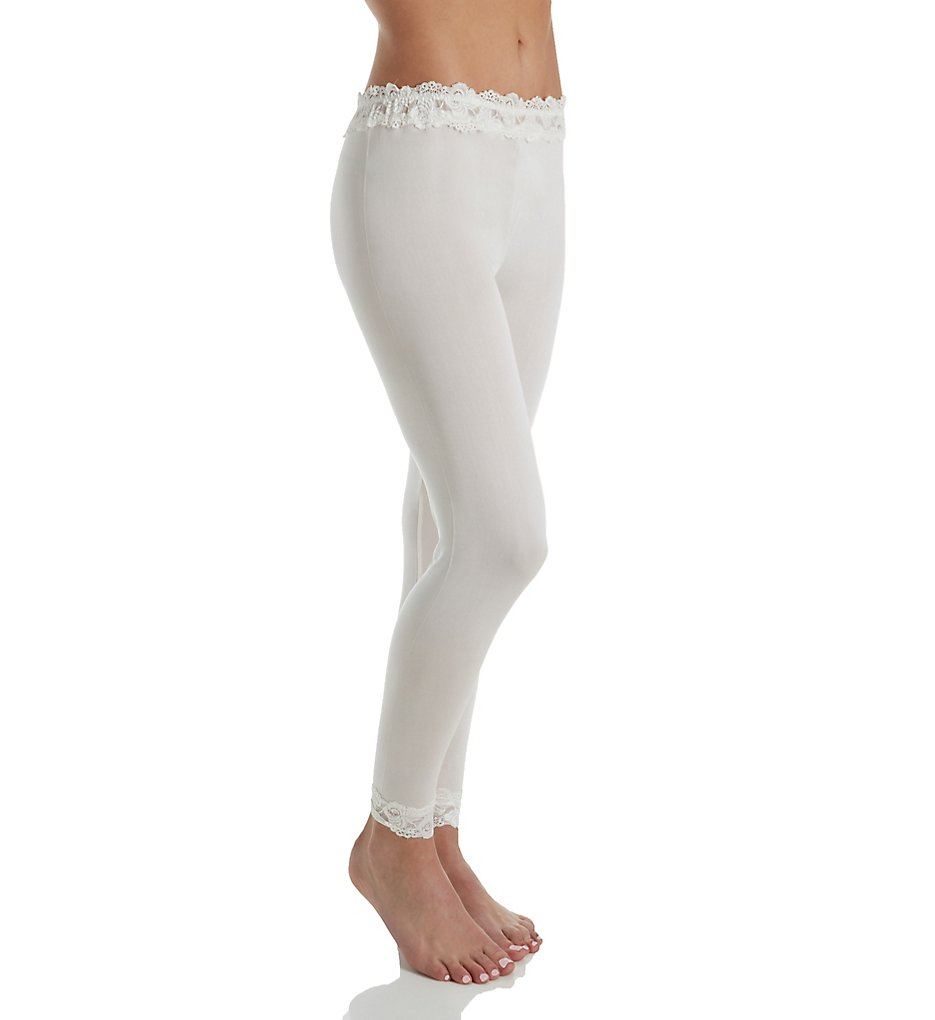 Linda Hartman 774025 Silk Knit Legging with Lace Waistband and Cuff (Porcelain)