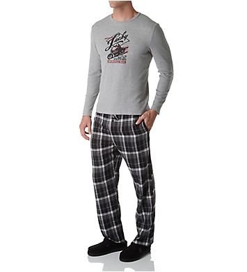 Lucky Long Sleeve Thermal & Flannel Pant Sleep Set
