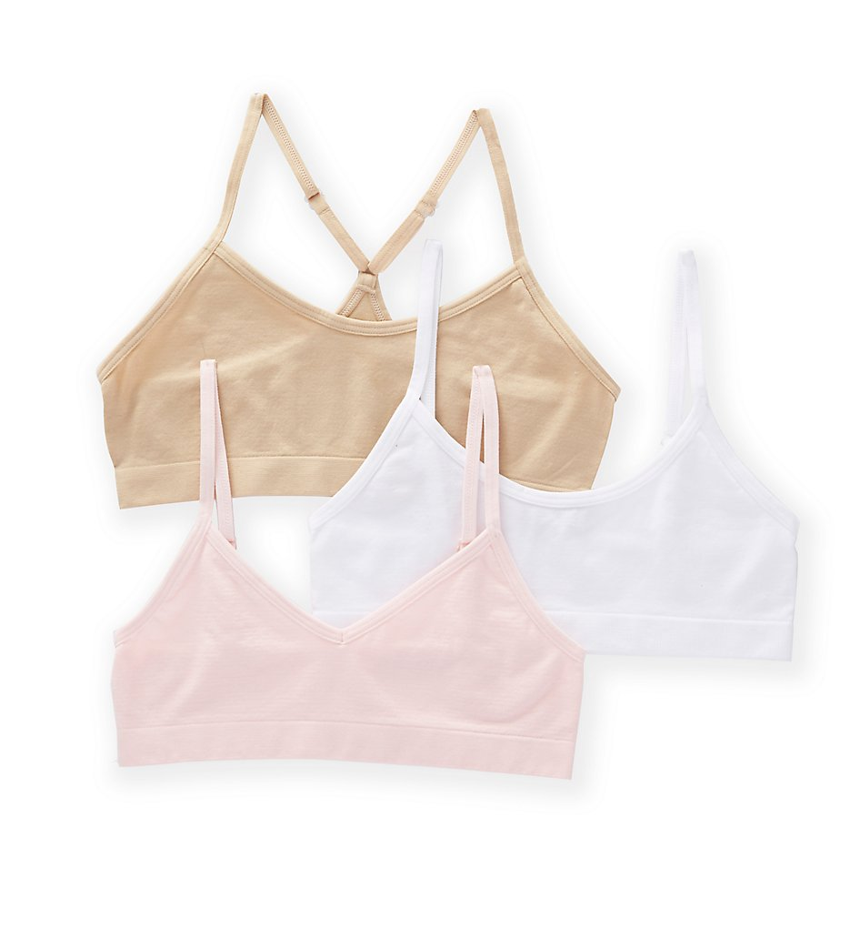 Maidenform Girl - Maidenform Girl H4378 Seamfree Crop Multi Silhouette Bralette - 3 Pack (Blush/White/Nude S)