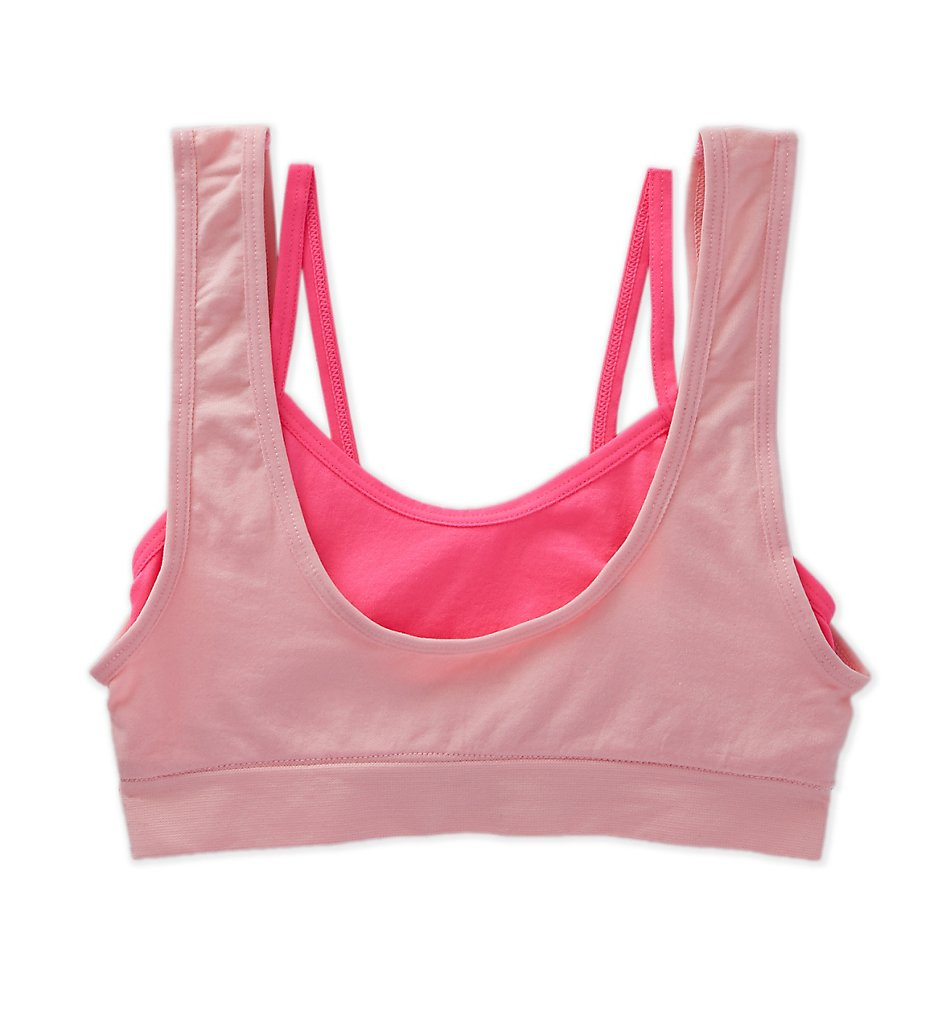 Maidenform Girl - Maidenform Girl H4396 Double Layer Seamfree Sports Bra (Heather/Candy M)