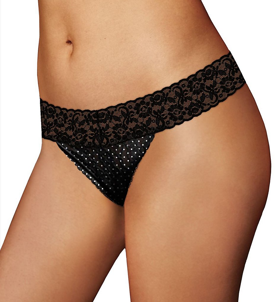 Maidenform : Maidenform 40118 One Size For All Classic Rise Lace Thong (Black Dot O/S)