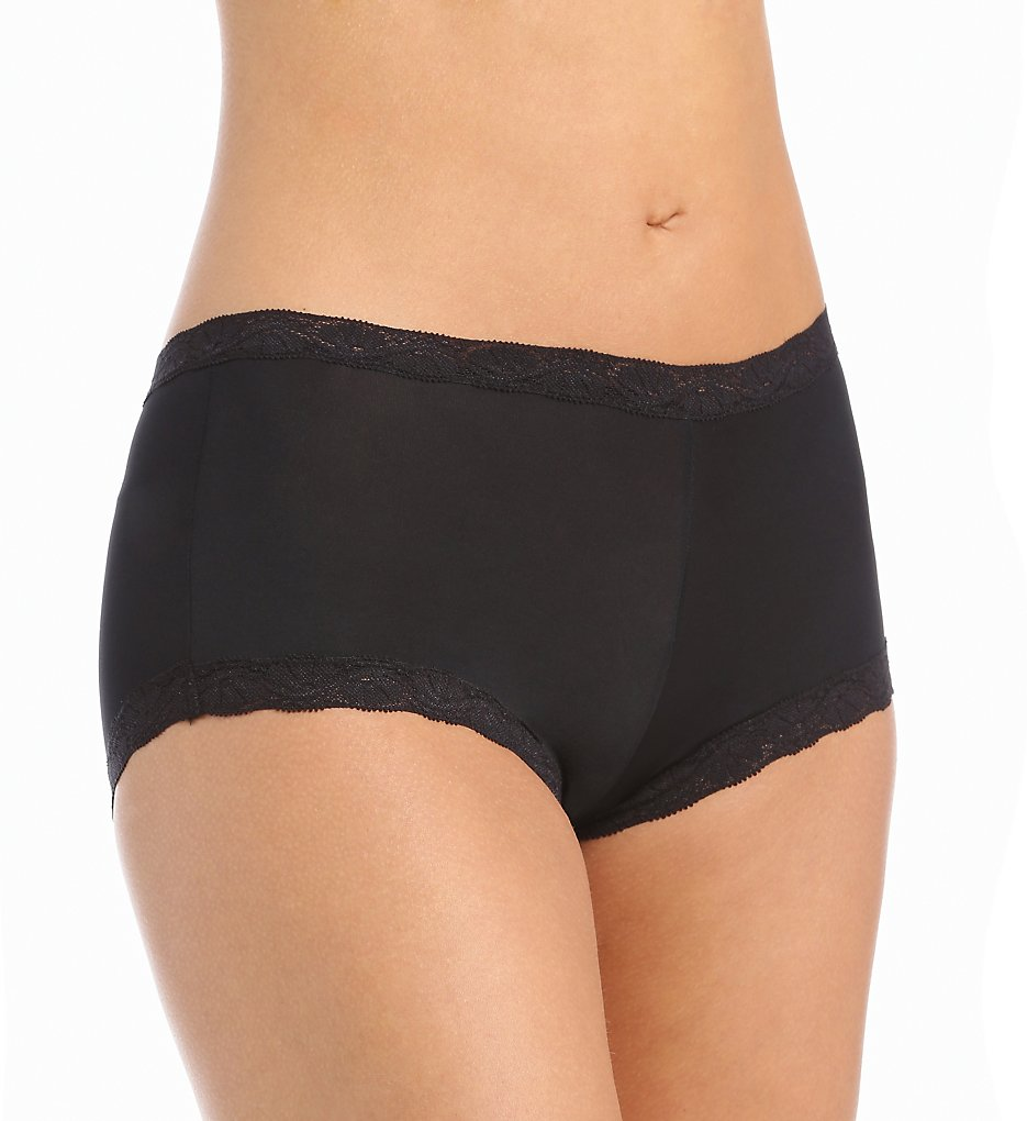 Maidenform - Maidenform 40760 Microfiber and Lace Boyshort Panty (Black 7)