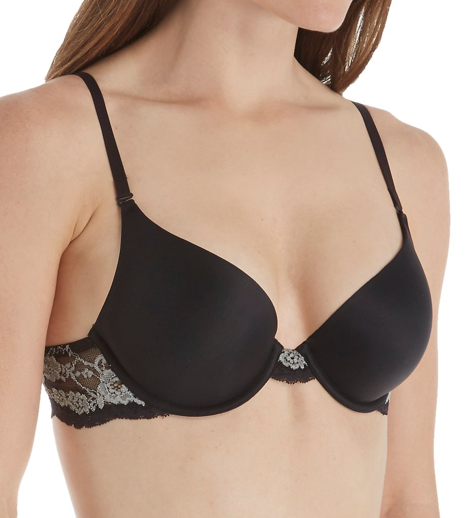 Maidenform - Maidenform 9428R Love the Lift Natural Boost Lace Wing T-Shirt Bra (Black w/ Stone 32B)