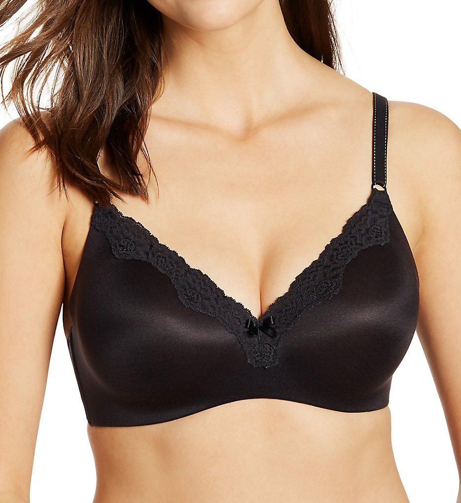 Maidenform - Maidenform 9456 Comfort Devotion Wirefree with Lift T-Shirt Bra (Black w/ Body Beige 34B)