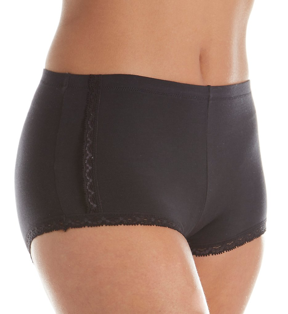 Maidenform (1899666) - Maidenform DM0021 One Fab Fit Cotton Boyshort Panty with Lace (Black 5)