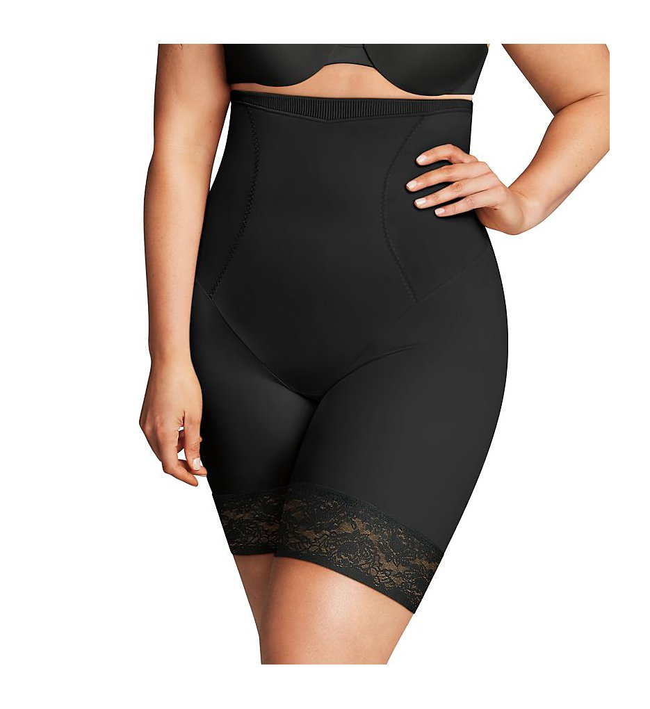 Maidenform - Maidenform DM1024 Firm Foundations Curvy Hi-Waist Thigh Slimmer (Black 1X)
