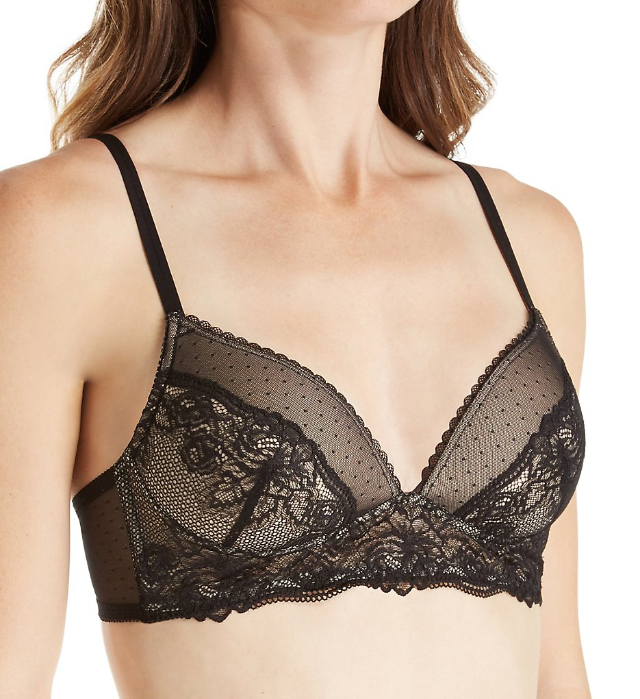 Maidenform - Maidenform DM1178 Casual Comfort Wirefree Lace Bralette (Black w/ Latte 34A)