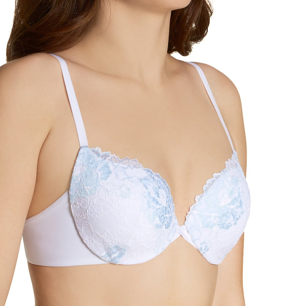 Maidenform - Maidenform DM9900 Love The Lift Push Up & In Lace Demi Bra (White w/ Blue Bling 40C)