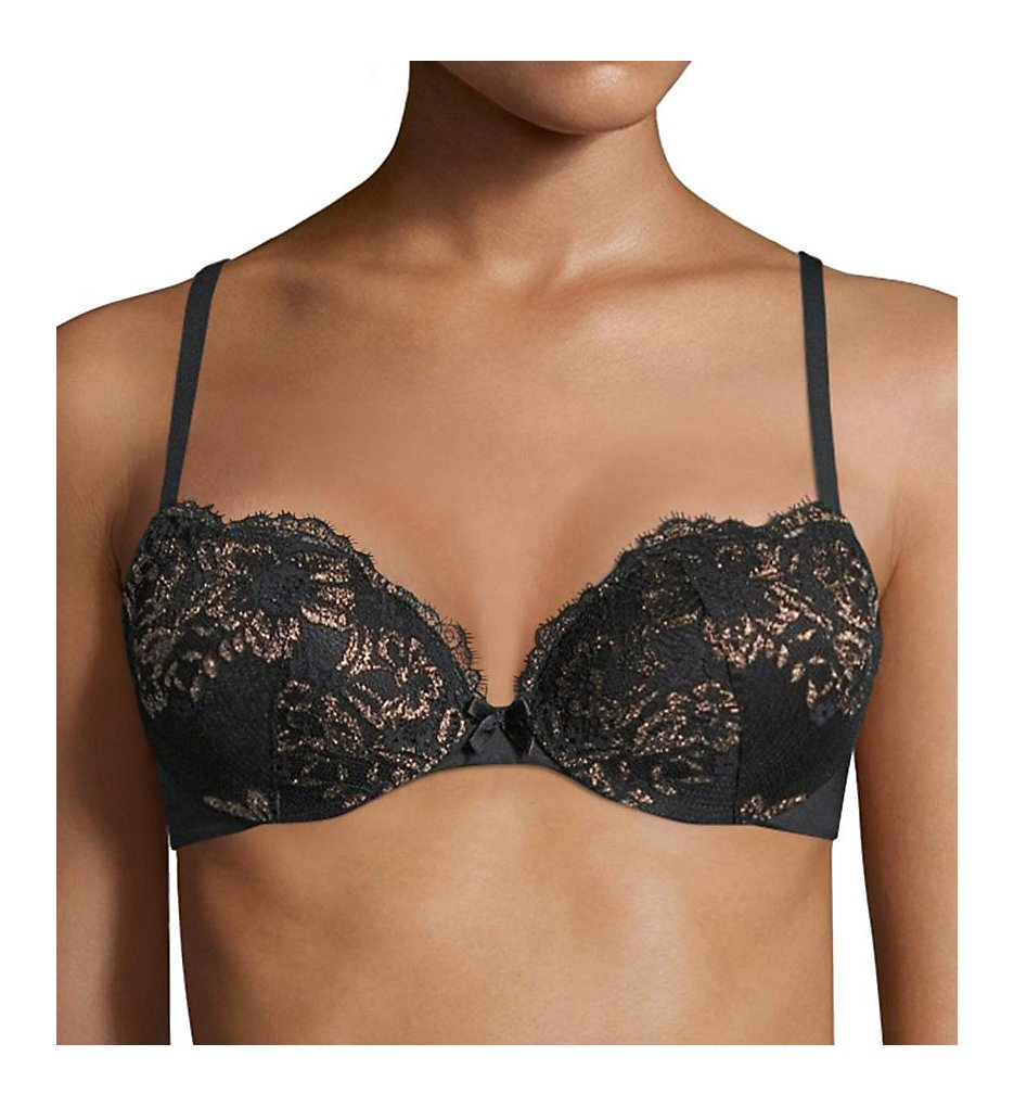 Maidenform - Maidenform DM9900X Push Up & In Lurex Demi Bra (Black w/ Gold 32A)