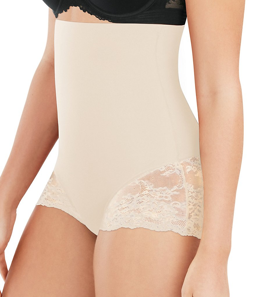 Maidenform - Maidenform DMS704 Tame Your Tummy High Waist Lace Shaping Brief (Nude Lace XL)