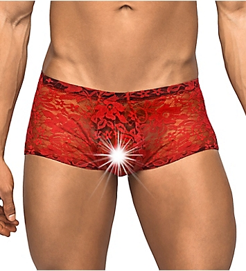 Male Power Stretch Lace Mini Trunk