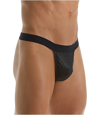 Male Power Black Cobra Snakeskin Mini G-String