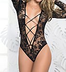 Long Sleeve Lace-Up Plunge Teddy