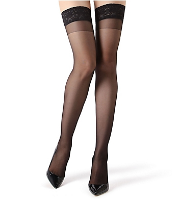 MeMoi Crystal Sheer Lace Top Thigh High