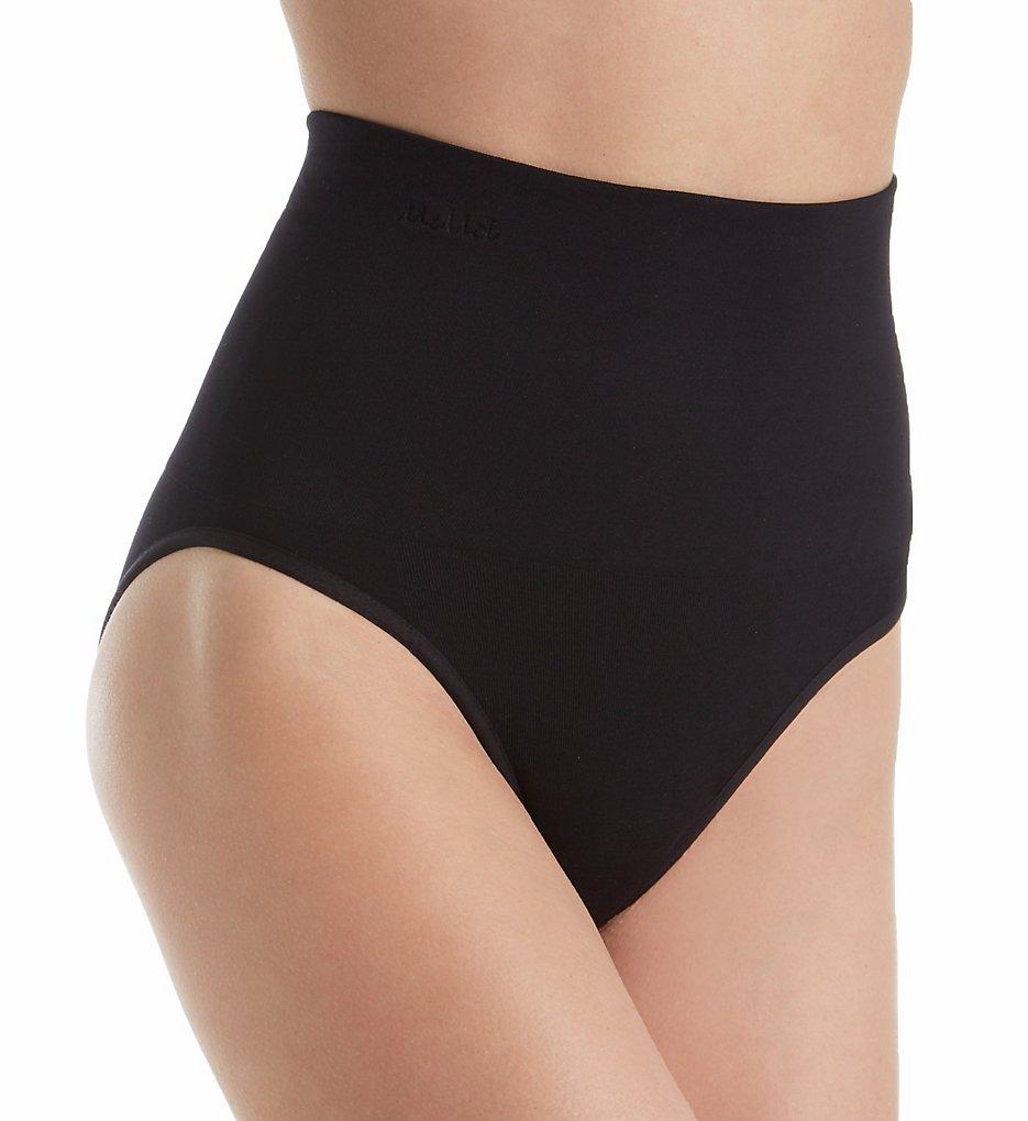 MeMoi - MeMoi MSM-101 SlimMe Seamless Hi Waist Control Brief Panty (Black S)