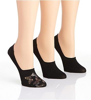 MeMoi Butterfly Metallic High-Cut Liner Sock - 3 Pack