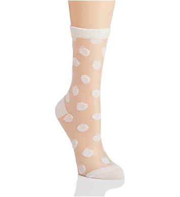 MeMoi Sheer Polka Dot Crew Sock