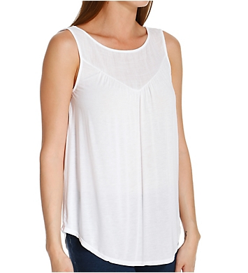 Michael Stars Lycra Jersey Sleeveless Shell Top with Voile Yoke