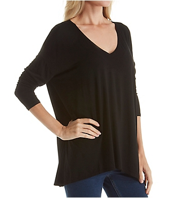 Michael Stars Jersey Lycra Long Sleeve V-Neck w/ Side Slits Tee
