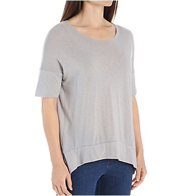 Michael Stars Luxe Slub Elbow Sleeve Scoop Neck Hi-Low Tee