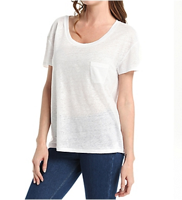 Michael Stars Linen Knit Short Sleeve Scoop Neck with Pocket Tee