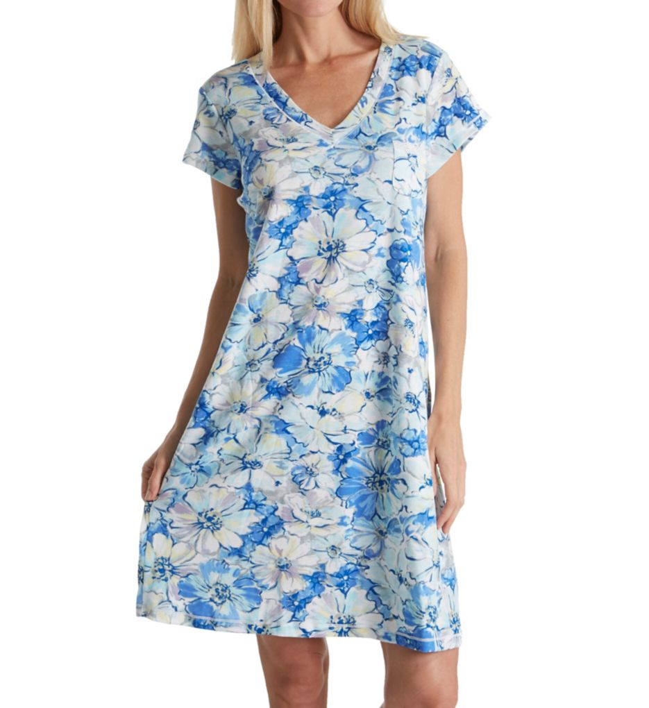 Miss Elaine Cottonessa Short Capsleeve Gown with Pockets