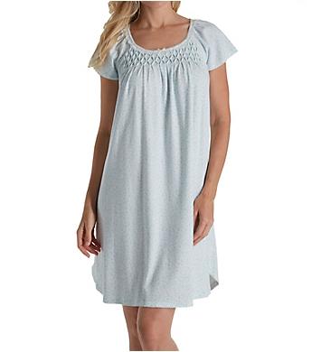 Miss Elaine Blue Rosebuds Silkyknit Short Gown