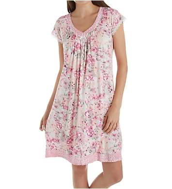 Miss Elaine Liquidknit Leopard Floral Short Sleeve Short Gown