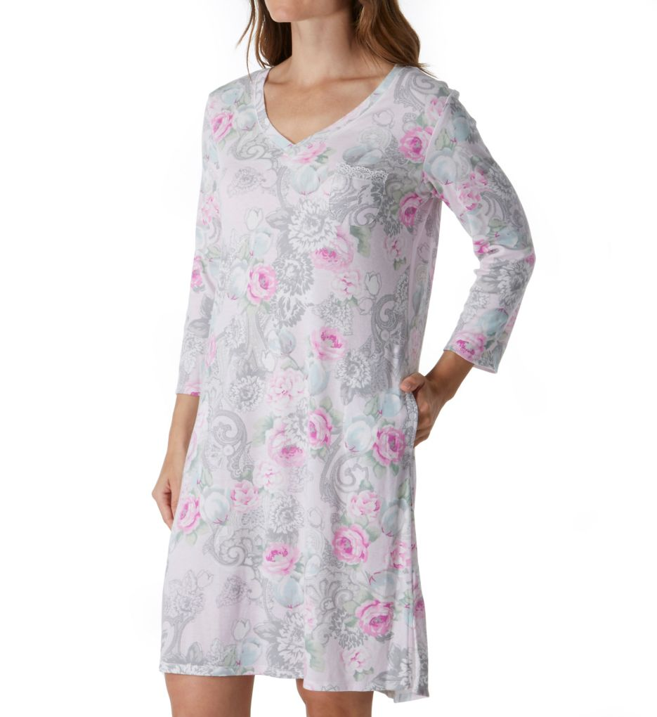 Miss Elaine Cottonessa Long Sleeve Short Gown With Pockets