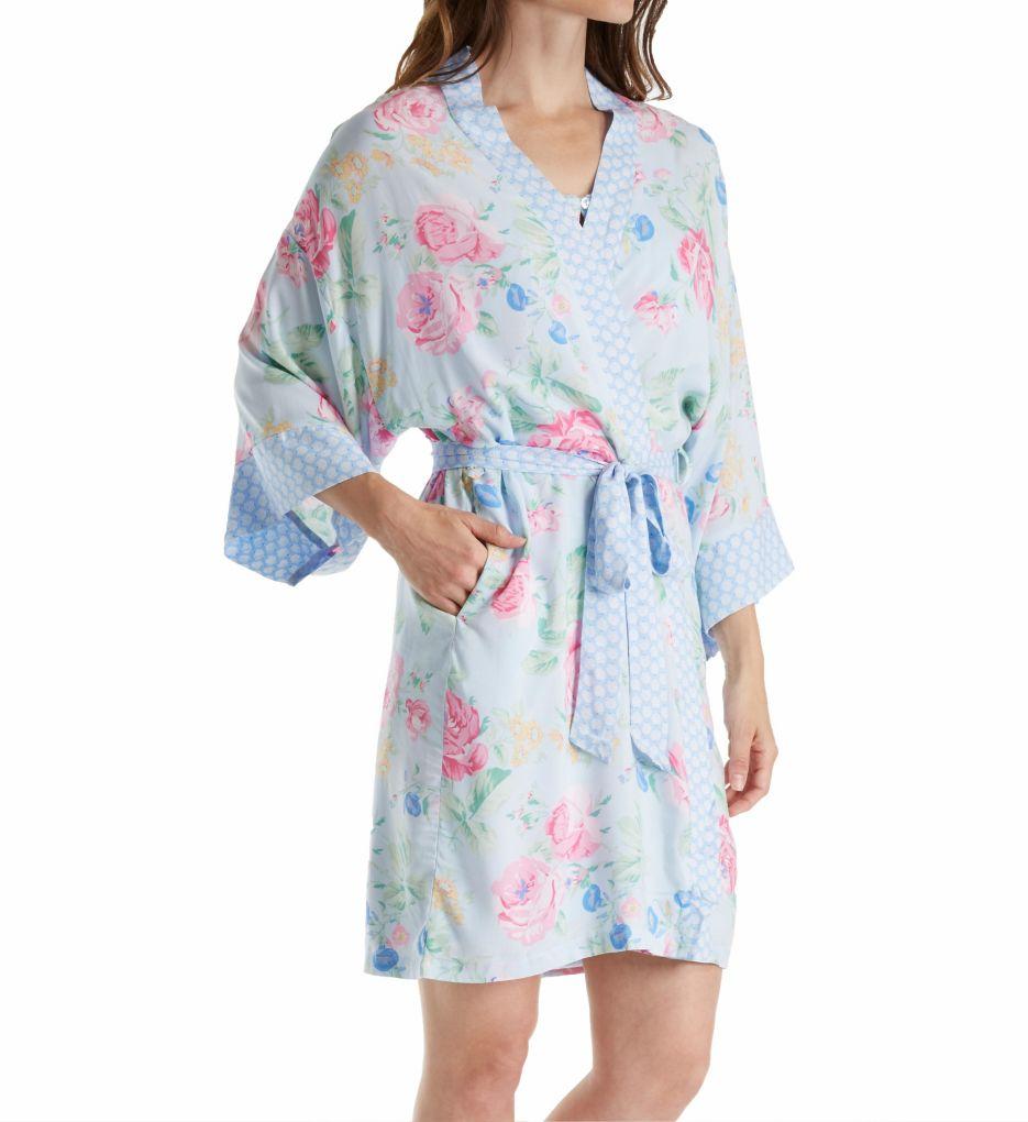 Miss Elaine Printed Woven Rayon Wrap Robe