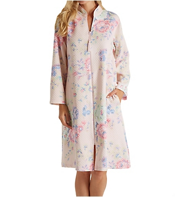 Miss Elaine Softknit Quilt-In-Knit Short Zip Robe