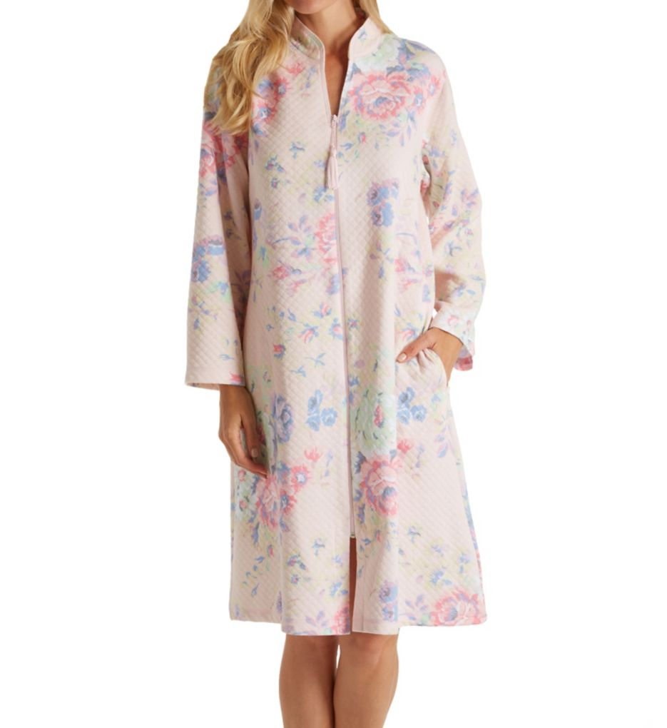 Miss Elaine Softknit Quilt-In-Knit Short Zip Robe