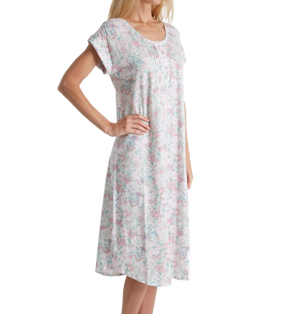 Miss Elaine Luxe Knit Short Sleeve Long Gown