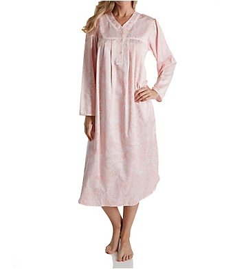 Miss Elaine Brushed Back Satin Paisley Long Nightgown