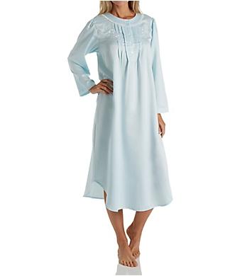 Miss Elaine Brushed Back Satin Long Sleeve Long Nightgown