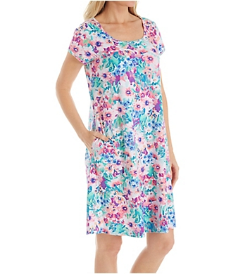 Miss Elaine Interlock Knit Spring Watercolor Floral Short Gown