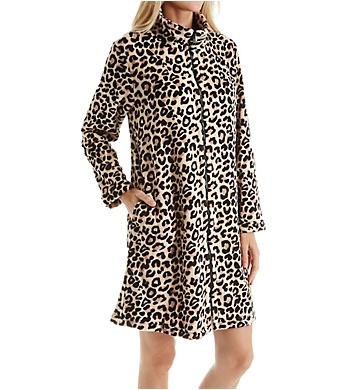 Miss Elaine Plush Fleece Leopard Zip Robe