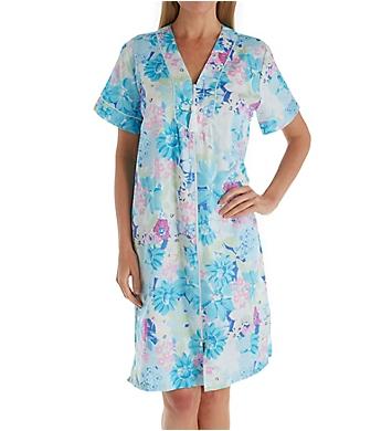 Miss Elaine Printed Sateen Short Zip Robe