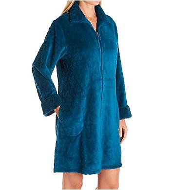 Miss Elaine Cuddle Fleece Dot Short Zip Robe