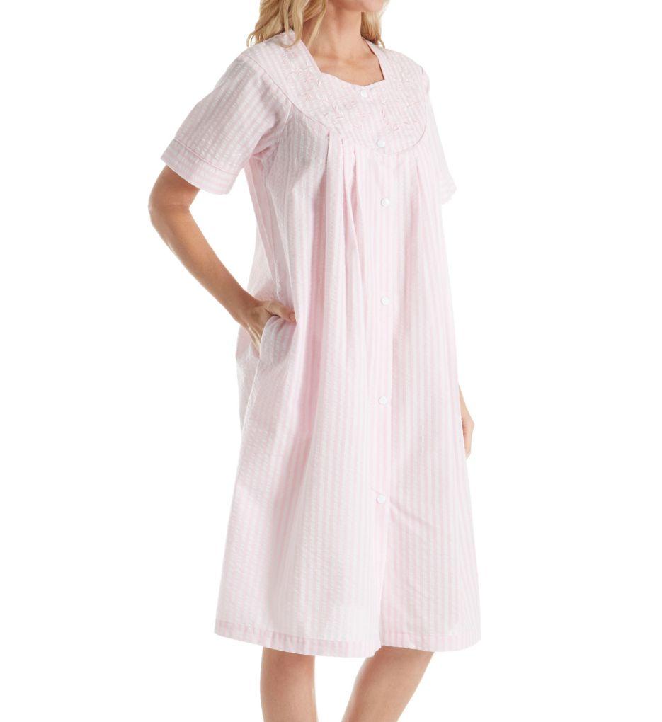 Miss Elaine Seersucker Short Sleeve Short Snap Front Coat