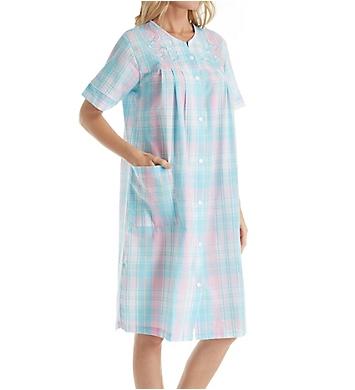 Miss Elaine Seersucker Plaid Short Snap Front Robe