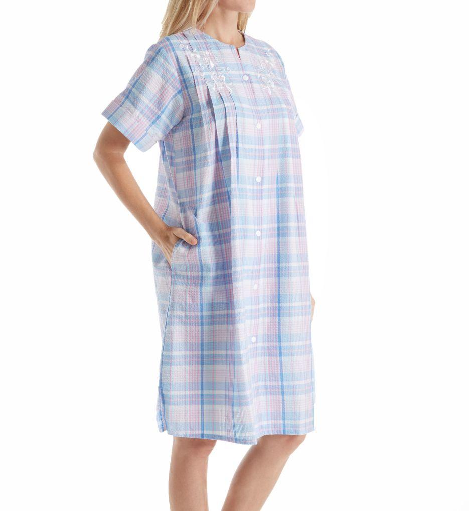 Miss Elaine Seersucker Plaid Short Button Front Coat