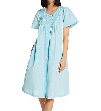 Miss Elaine Seersucker Short Snap Front Robe