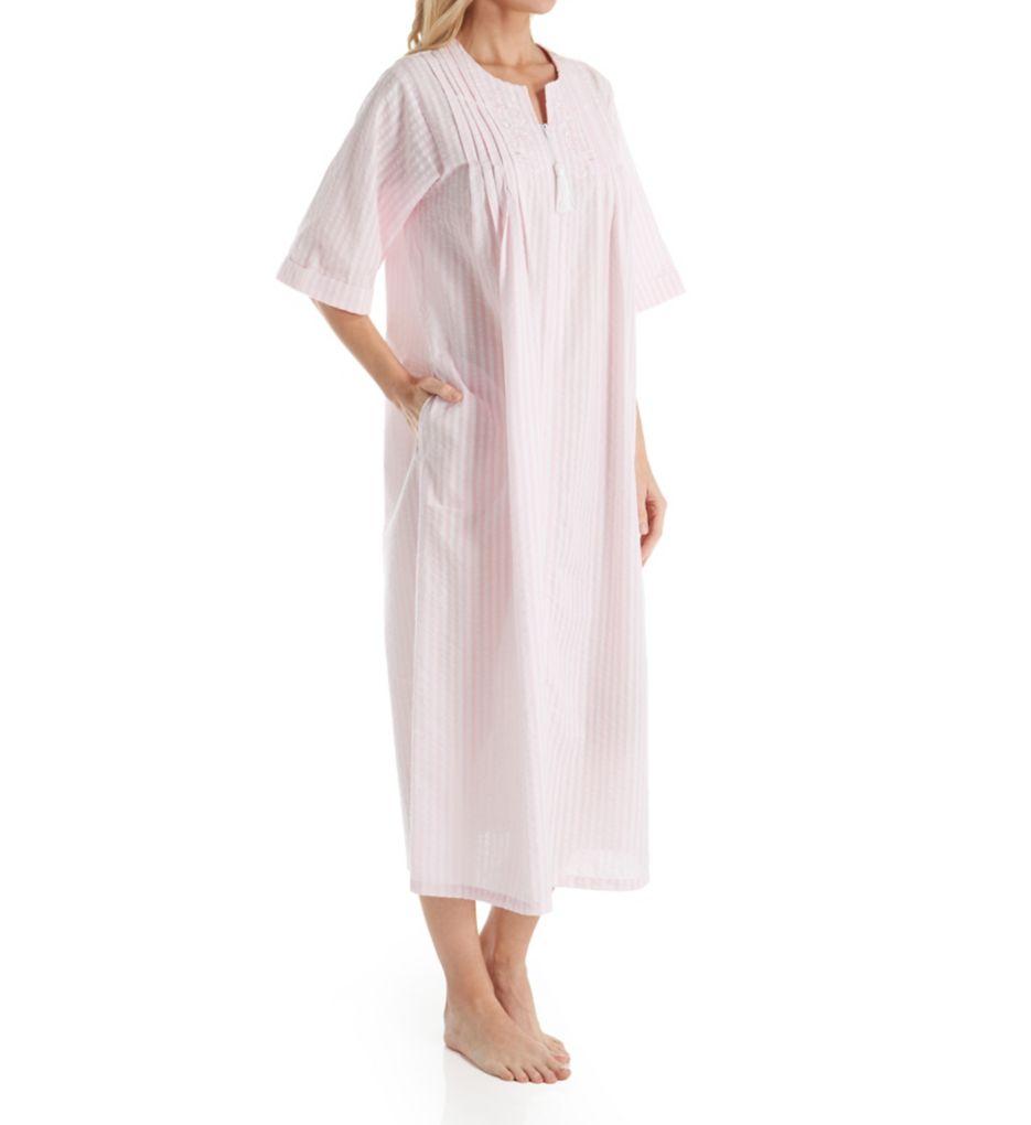 Miss Elaine Seersucker Short Sleeve Long Zip Robe